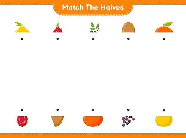 Verbinde die hälften. passen sie die hälften der früchte an. pädagogisches kinderspiel, druckbares arbeitsblatt