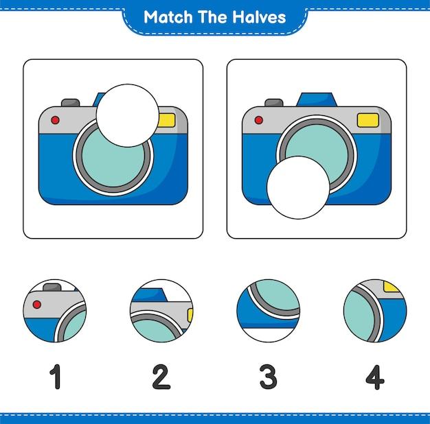 Verbinde die hälften. passen sie die hälften der kamera an. lernspiel für kinder, arbeitsblatt zum ausdrucken