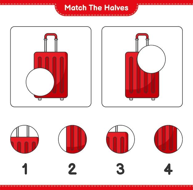 Verbinde die hälften. passen sie die hälften der reisetasche zusammen. lernspiel für kinder, arbeitsblatt zum ausdrucken