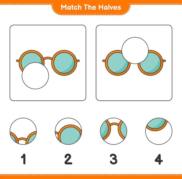 Verbinde die hälften. passen sie die hälften der sonnenbrille an. lernspiel für kinder, arbeitsblatt zum ausdrucken