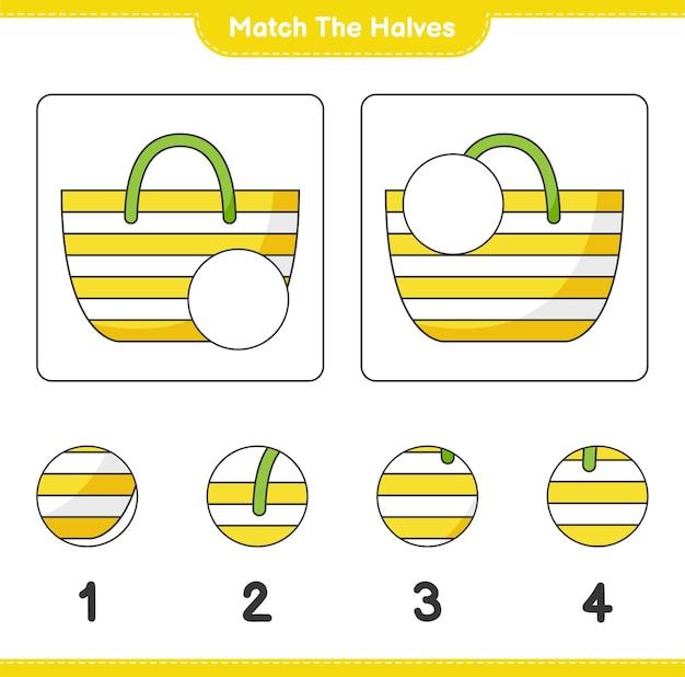 Verbinde die hälften. passen sie die hälften der strandtasche an. lernspiel für kinder, arbeitsblatt zum ausdrucken