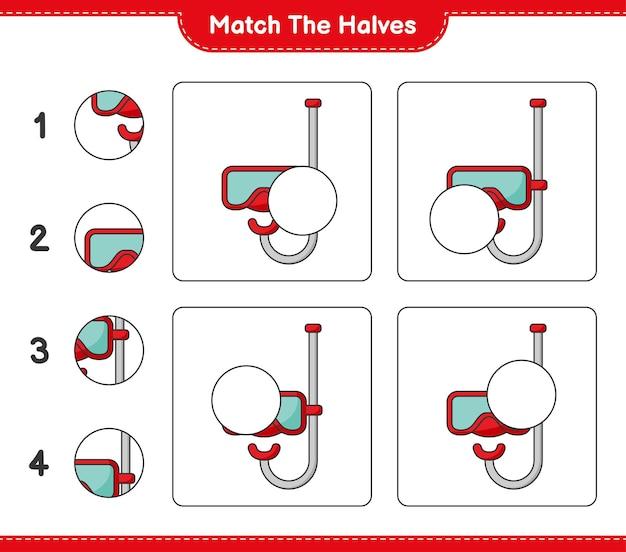 Verbinde die hälften. passen sie die hälften der tauchmaske an. lernspiel für kinder, arbeitsblatt zum ausdrucken