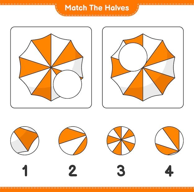 Verbinde die hälften. passen sie die hälften des strandschirms an. lernspiel für kinder, arbeitsblatt zum ausdrucken