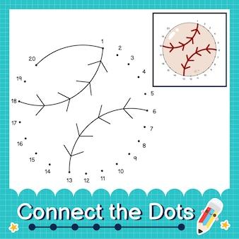 Verbinde die punkte, die die zahlen 1 bis 20 zählen, puzzle-arbeitsblatt mit baseball