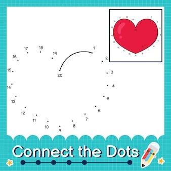 Verbinde die punkte, die die zahlen 1 bis 20 zählen, puzzle-arbeitsblatt mit herz