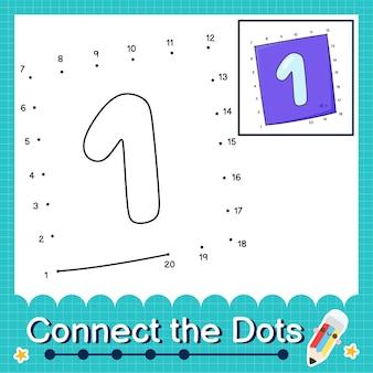 Verbinde die punkte, die die zahlen 1 bis 20 zählen, puzzle-arbeitsblatt mit nummer eins