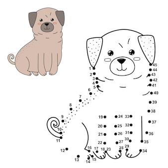 Verbinde die punkte, um den niedlichen hund zu zeichnen und zu färben. lernspiel mit zahlen und farben für kinder. illustration