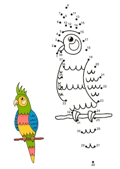 Verbinde die punkte, um den niedlichen papagei zu zeichnen