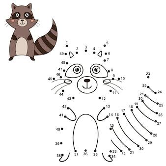 Verbinde die punkte, um den niedlichen waschbären zu zeichnen