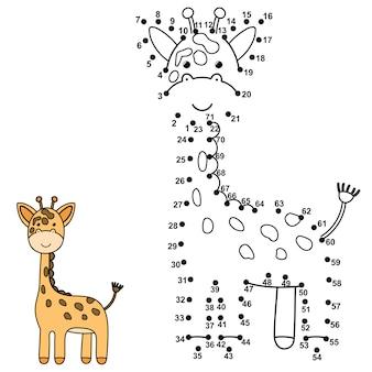 Verbinde die punkte, um eine süße giraffe zu zeichnen und sie zu färben. lernzahlen und malspiel für kinder. vektorillustration