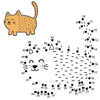 Verbinde die punkte und male eine lustige fette katze. zahlenspiel für kinder
