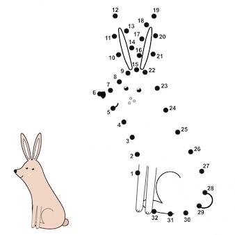 Verbinde die punkte und zeichne ein süßes kaninchen. zahlenspiel für kinder. illustration