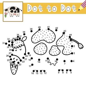 Verbinde die punkte und zeichne eine süße kuh punkt-zu-punkt-spiel mit einem nutztier lernseite für kinder