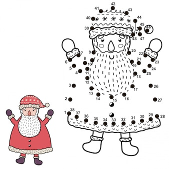 Verbinde die punkte und zeichne einen lustigen weihnachtsmann. weihnachtszahlenspiel für kinder. illustration