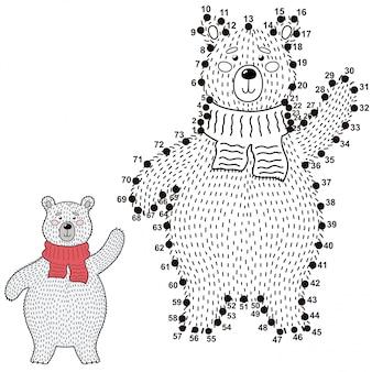 Verbinde die punkte und zeichne einen niedlichen eisbären. zahlenspiel für kinder. illustration