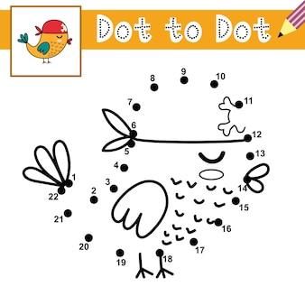 Verbinde die punkte und zeichne einen niedlichen vogelpiraten punkt-zu-punkt-spiel lernseite für kinder