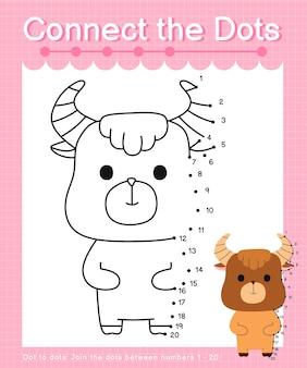 Verbinde die punkte yak punkt mit punktspielen für kinder, die die nummern 1 bis 20 zählen