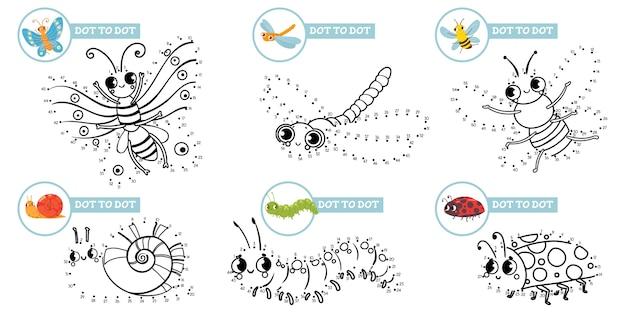 Verbinde punkte cartoon insekten spiel. niedliche insekten punkt zu punkt bildungsspiele für kleinkinder, spielen mit vorschulkindern