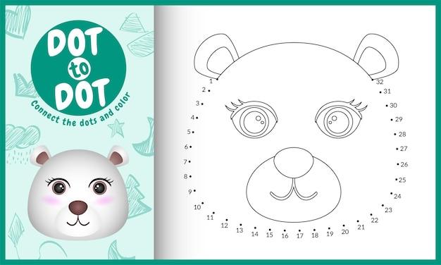 Verbinden sie das punktkinderspiel und die malvorlage mit einer niedlichen gesichts-eisbär-charakterillustration