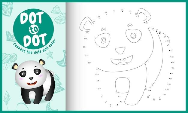 Verbinden sie das punktkinderspiel und die malvorlage mit einer niedlichen panda-charakterillustration