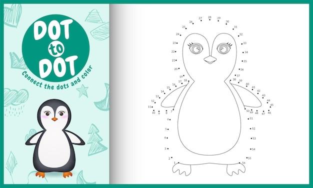 Verbinden sie das punktkinderspiel und die malvorlage mit einer niedlichen pinguin-charakterillustration