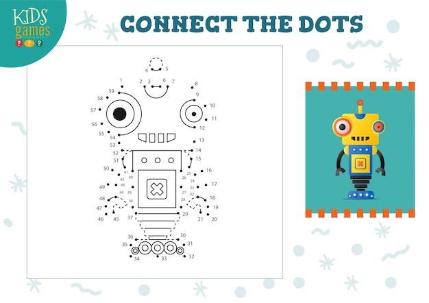 Verbinden sie die minispiel-vektorillustration mit punkten für kinder. bildungsaktivität für vorschulkinder mit punkt zu punkt verbinden und lustige cartoon-monster oder roboter zeichnen