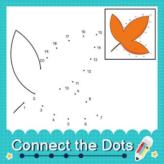 Verbinden sie die punkte, die die zahlen 1 bis 20 zählen, puzzle-arbeitsblatt mit maple