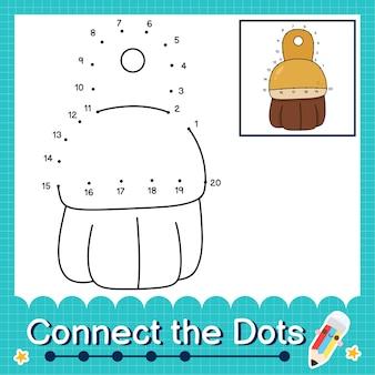 Verbinden sie die punkte, die die zahlen 1 bis 20 zählen, puzzle-arbeitsblatt mit pinsel