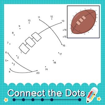 Verbinden sie die punkte, die die zahlen 1 bis 20 zählen, puzzle-arbeitsblatt mit rugby