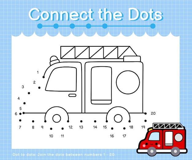 Verbinden sie die punkte feuerwehrauto - punkt zu punkt spiele für kinder mit der nummer 1-20