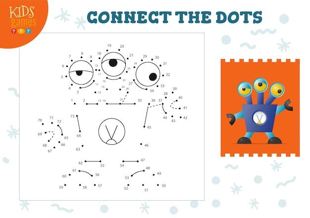Verbinden sie die punkte-kinderspiel-vektorillustration. bildungsaktivität für vorschulkinder mit punkt zu punkt verbinden und robotercharakter im vintage-stil färben