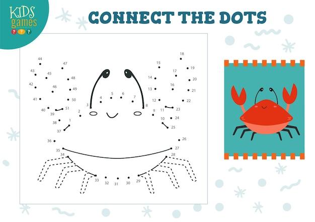 Verbinden sie die punkte kinderspielillustration. vorschulkinder zeichnen aktivität mit dem verbinden von punkt zu punkt niedlichen krabbencharakter