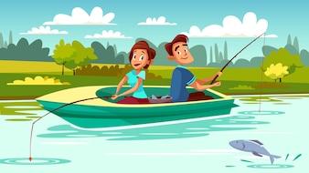 Verbinden Sie Fischenillustration des jungen Mannes und der Frau im Boot mit Stangen auf See