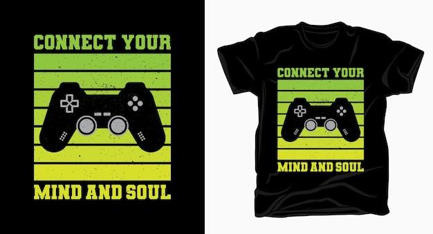 Verbinden sie ihre typografie mit dem gamecontroller-t-shirt