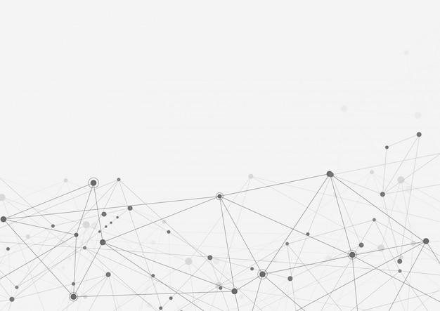 Verbinden sie linien und punkte. internetverbindung. abstrakter sinn für wissenschaft