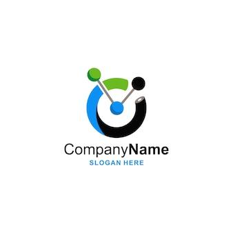 Verbinden sie logo mit drei kreisform-symbol-logo-design einfaches farbvorlagendesign