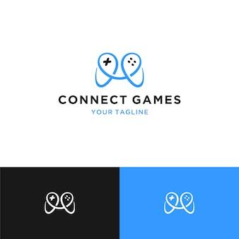 Verbinden sie spiele logo icon joystick-konzept
