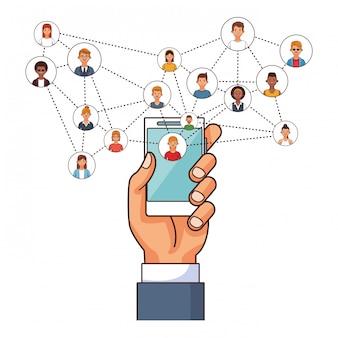 Verbindung der technologie-smartphone-benutzer