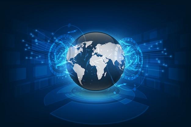 Verbindung des globalen netzwerks weltkartenzusammenfassungs-technologiehintergrund-innovationskonzept des globalen geschäfts