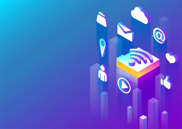 Verbindung internet und social-media-netzwerk abstrakte isometrische darstellung auf lila spektrum hintergrund