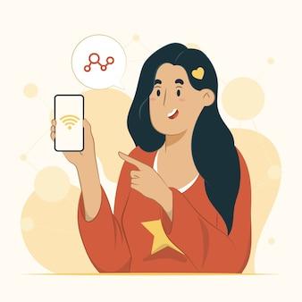 Verbindungskonzept online-weltillustration