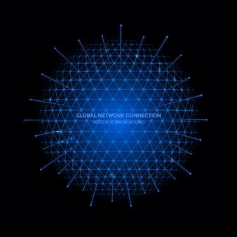 Verbindungslinien um erdkugelhintergrund, kommunikationstechnologie für internet-geschäft.