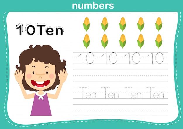 Verbindungspunkt und druckbare zahlenübung für vorschul- und kindergartenkinderillustration,