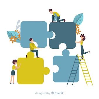 Verbindungspuzzle der leute bessert hintergrund aus