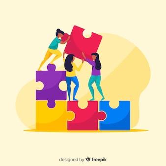 Verbindungspuzzlespiel der leute bessert bunten hintergrund aus