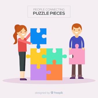 Verbindungspuzzlespiel der leute bessert illustration aus
