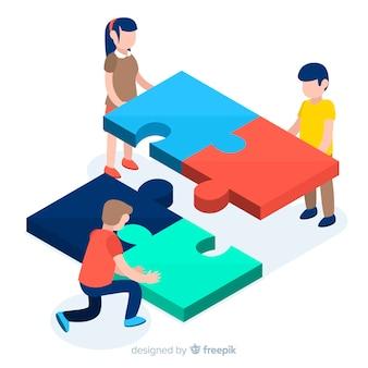 Verbindungspuzzlespiel der leute bessert isometrischen hintergrund aus