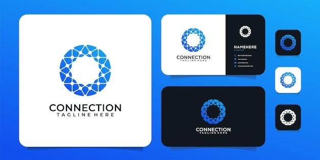 Verbindungstechnologie-formvektor-digital-logo-design