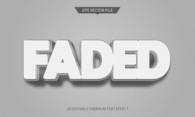 Verblasster weißer farbloser 3d-bearbeitbarer textstileffekt premium-vektor