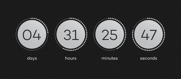 Verbleibende vektorzeitvorlage mit kreis-countdown von tagen stunden minuten sekunden webseite in vorbereitung